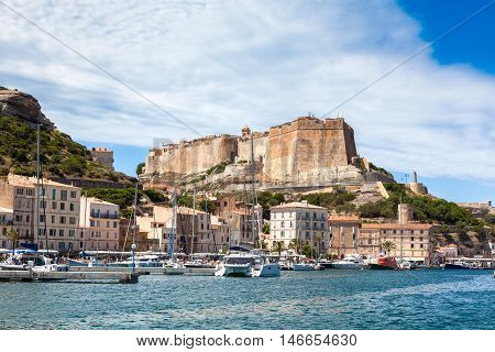 A View Of Bonifacio Port And Old Town, Corsica Island, France..
