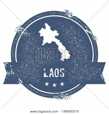 Lao People's Democratic Republic Mark.. Travel Rubber Stamp With The Name And Map Of Lao People's De