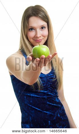 Girl In Blue Dress With A Green Apple