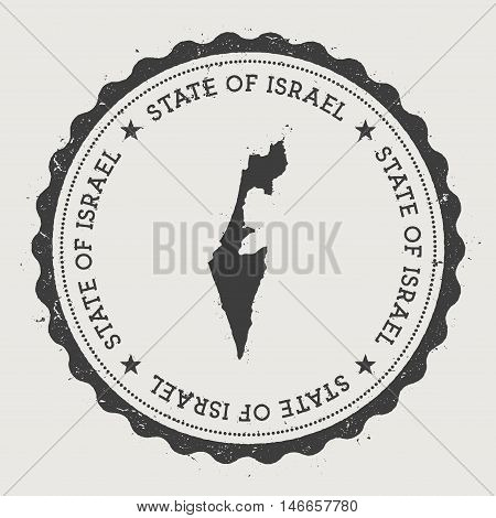 Israel Hipster Round Rubber Stamp With Country Map. Vintage Passport Stamp With Circular Text And St