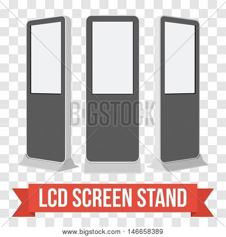 LCD Screen Floor Stand. Black Trade Show Booths with different angles. Vector illustration of kiosk machines on transparent background. Ad template for your expo design with ribbon banner text.