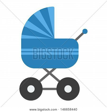 Blue baby pram vector. Flat icon of baby carriage isolated on white.