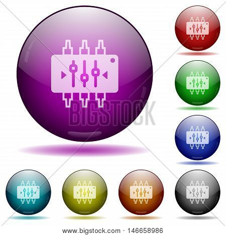 Set of color chip tuning glass sphere buttons with shadows.