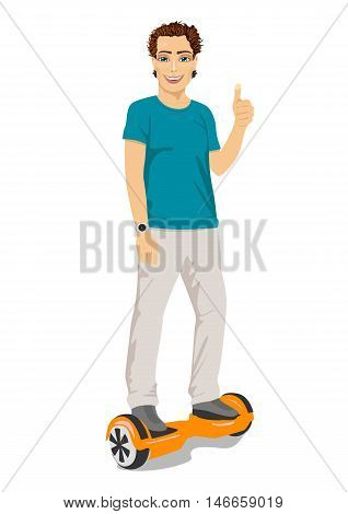 happy young man riding a gyroscooter and giving thumbs up - eco transport, hoverboard, smart balance wheel