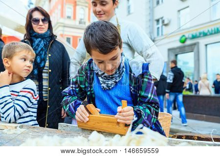 MOSCOW RUSSIA - SEPTEMBER 10 2016: Moscow City Day 869 anniversary of the city. Performance on Tverskaya Street. Installation dedicated to the