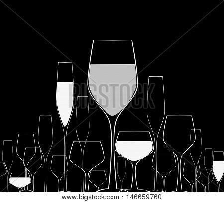 Cocktail Party Vector.Bar Menu Ilustration.Suitable for Poster.Suitable for Poster.Invitation Card with Glasses.Alcoholic Bottles Background.Wine List Design.
