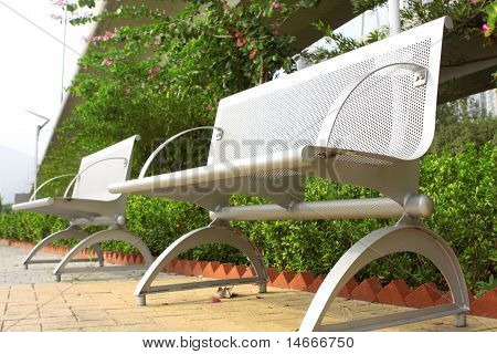 Two Steel Chair In The Park