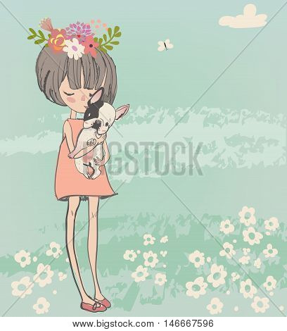 cute cartoon little girl with french bulldog