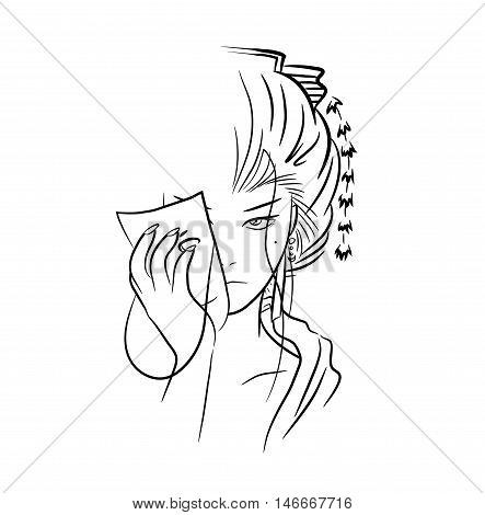 Beautiful Lady Geisha. A hand drawn vector drawing illustration of a beautiful geisha woman taking off her mask.