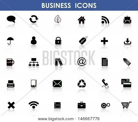 Set of 30 Flat Icons for Business