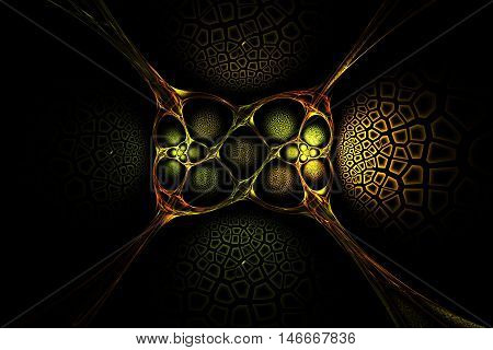 Abstract fractal old gold symmetry geometric yellow red and green image