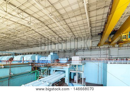 Turbine room of nuclear power plant.. The interior of the turbine shop.