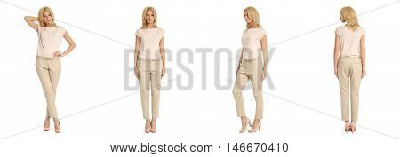 Young Sexy Blond Woman In Beige Trousers Isolated