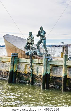 New York, USA - December 28, 2015: American Merchant Mariners Memorial in Battery Park.