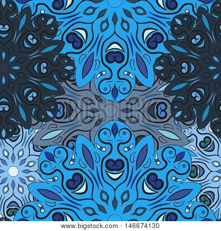Blue vector seamless pattern with flowery mandalas print made in oriental style. Design for wrapper, decoration, carpet or textile