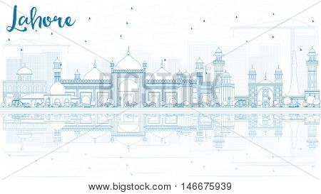 Outline Lahore Skyline with Blue Landmarks and Reflections. Business Travel and Tourism Concept with Historic Buildings. Image for Presentation Banner Placard and Web.