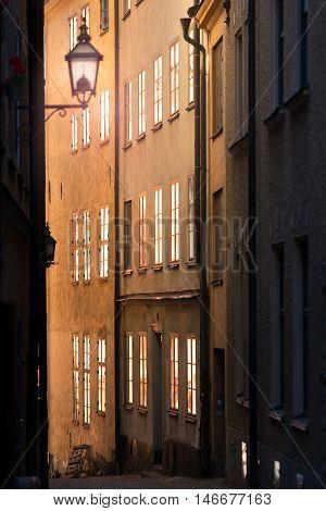 Sunrise or sunset in street of Gamla stan. Stockholm Sweden Scandinavia Europe.