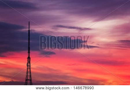 Crystal Palace transmitting station at dusk, Bromley, London, UK
