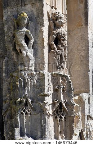 Poissy France - august 6 2016 : detail of the historical collegiate church where the king Saint Louis was baptised