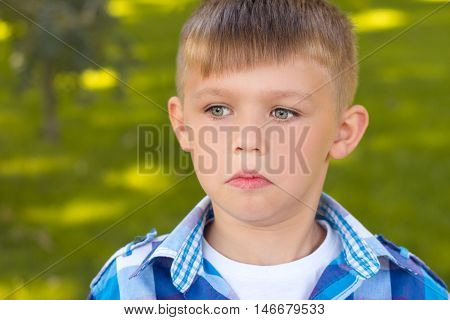 Portrait Close . The Frightened Boy . Beautiful ,little Boy .