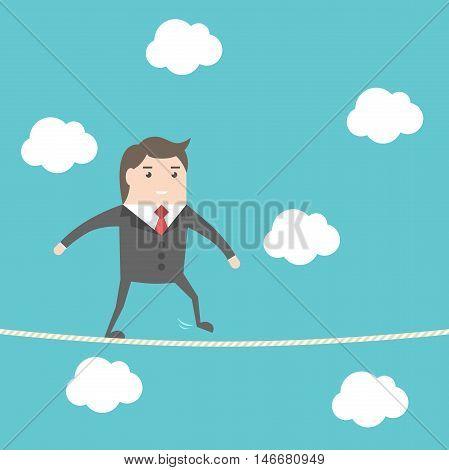 Businesman Walking Rope