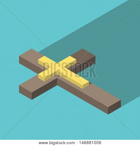 Isometric wooden Christian cross with gold inlay on turquoise blue background with long shadow. Christianity religion and faith concept. Flat design. EPS 8 vector illustration no transparency