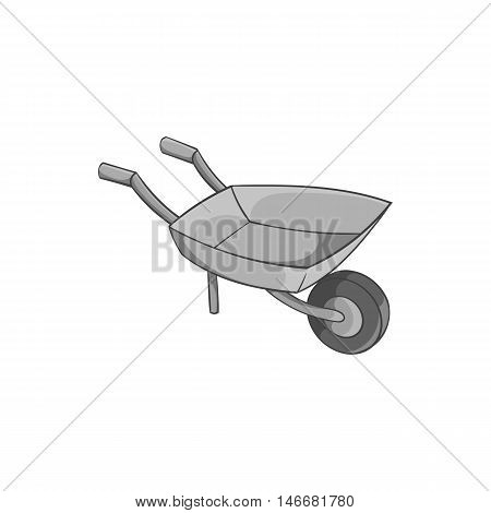 Garden wheelbarrow icon in black monochrome style isolated on white background. Territory cleaning symbol vector illustration