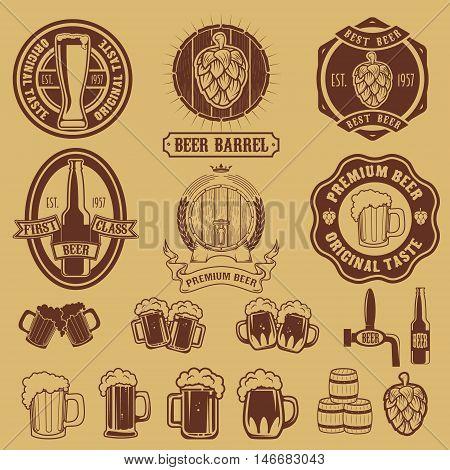 Set of labels templates with beer mug. Beer emblems. Bar. Pub. Design elements for logo label emblem sign brand mark. Vector illustration.