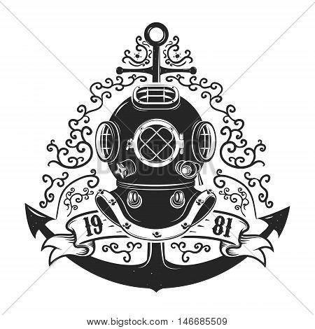 Vintage style diver helmet with anchor isolated on white background. Diving club or school emblem template.Vector illustration.