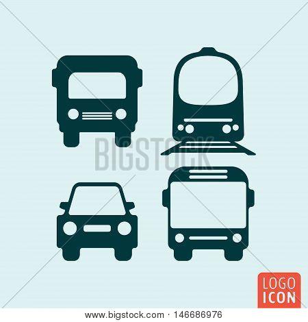 Car, truck, train and bus icon. Set of transportation symbol. Vector illustration