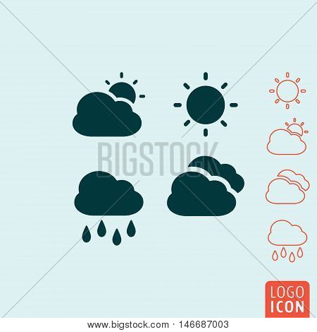 Weather icon. Set of meteorological symbols. Vector illustration