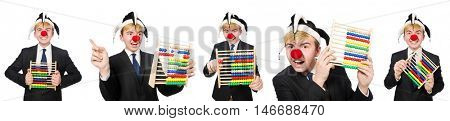 Clown with abacus isolated on white