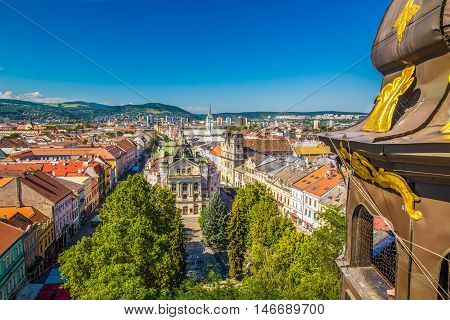 View to Kosice theatre and Kosice old town from the top of Saint Elisabeth Cathedral tower. Kosice is the biggest city in eastern Slovakia and in 2013 was the European Capital of Culture.