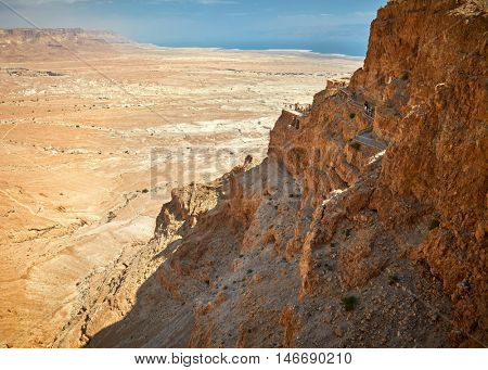 View of Judea desert and Massada,Israel