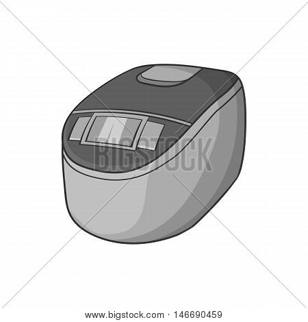 Slow cooker icon in black monochrome style isolated on white background. Appliances symbol vector illustration