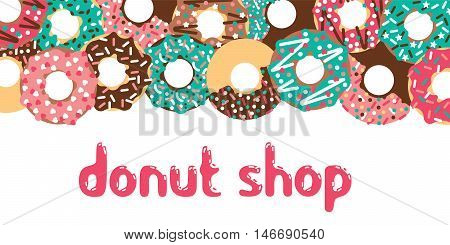 Donuts shop background. Vector donuts isolated. Deserts food in a flat style. Sweet donuts with frosting and caramel topping.