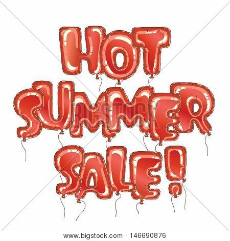 Hot summer sale banner. Letterig in form balloon isolated on white. Business seasonal shopping concept, vector. Summer sale background for print, web design and banners.