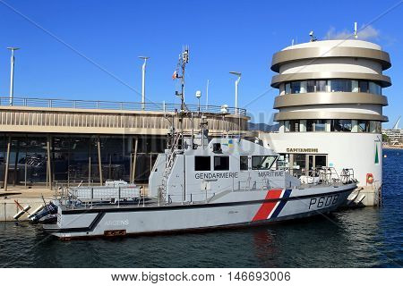 Saint-raphael, Provence, France - August 21 2016: French Coastguard (