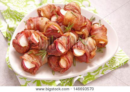 Bacon wrapped turkey or chicken and apple