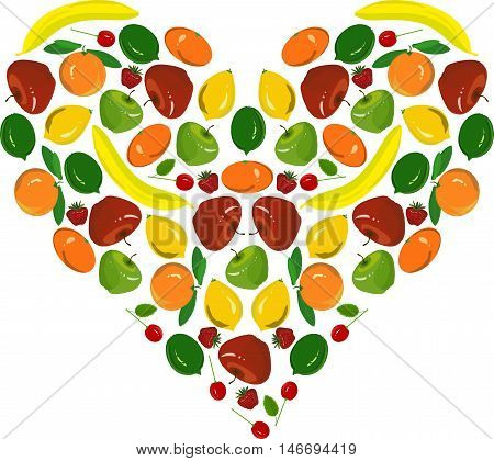 Painting fruit heart, yellow bananas, lemons, red apples, cherish, strawberry, green limes on white, vector illustration