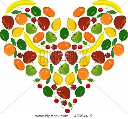 Painting fruit heart, yellow bananas, lemons, red apples, cherish, strawberry, green limes on white, vector illustration poster