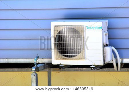 St-aygulf, Provence, France - August 27 2016: Air Conditioning Unit On A Mobile Home Trailer, On A C