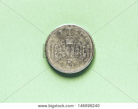 Vintage Gbp Pound Coin - 5 Pence