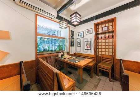 MOSCOW - JULY 2014: Interior chain sushi restaurant