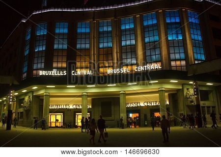 BELGIUM, BRUSSELS - SEPTEMBER 06, 2014: Night view of building in backlights of Central Railway Station of Brussels from Carrefour de l'Europe square.