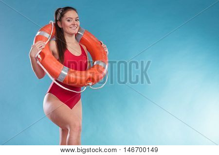 Lifeguard Woman With Ring Buoy Lifebuoy.