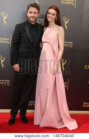 LOS ANGELES - SEP 10:  Chris Hardwick, Lydia Hearst at the 2016 Creative Arts Emmy Awards - Day 1 - Arrivals at the Microsoft Theater on September 10, 2016 in Los Angeles, CA