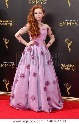 LOS ANGELES - SEP 10:  Francesca Capaldi at the 2016 Creative Arts Emmy Awards - Day 1 - Arrivals at the Microsoft Theater on September 10, 2016 in Los Angeles, CA
