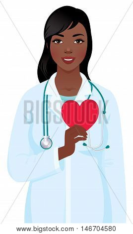 Vector illustration of a young african american woman cardiologist in the medical doctor uniform with a stethoscope and heart symbol in hand