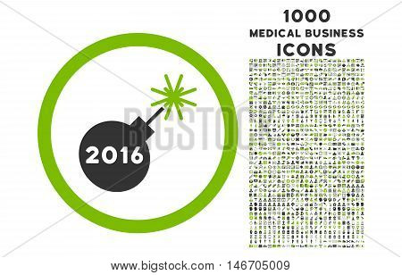 2016 Petard rounded vector bicolor icon with 1000 medical business icons. Set style is flat pictograms, eco green and gray colors, white background.